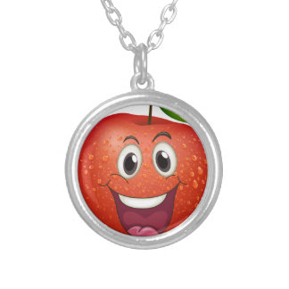 A smiling apple round pendant necklace