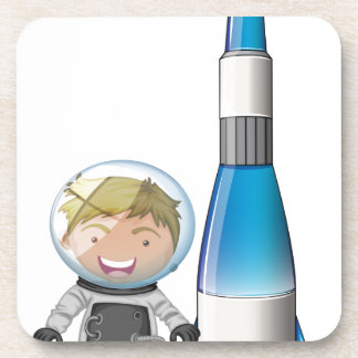A smiling astronaut beside an airship beverage coasters