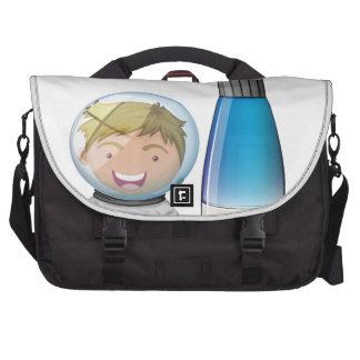 A smiling astronaut beside an airship laptop commuter bag