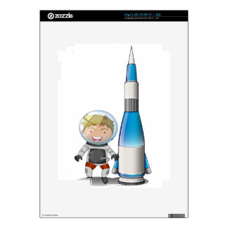 A smiling astronaut beside an airship skin for iPad 2