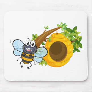 A smiling bee beside its beehive mouse pad