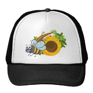 A smiling bee beside the beehive trucker hat