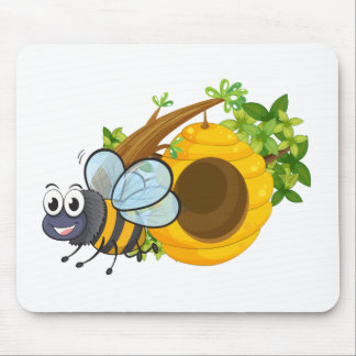 A smiling bee beside the beehive mouse pad