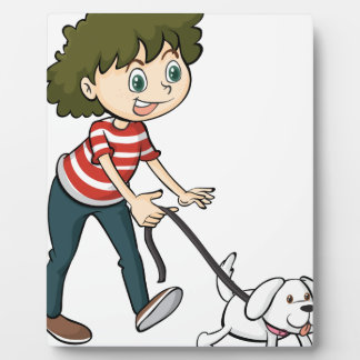 A smiling boy and a dog photo plaque