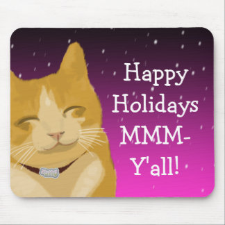A smiling cat wish you happy holidays mouse pad