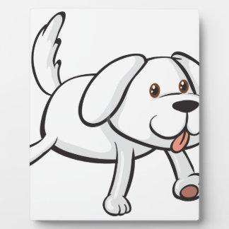 A smiling dog photo plaque