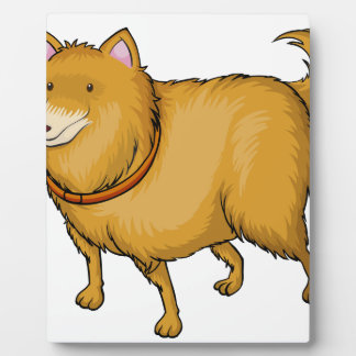 A smiling dog display plaques