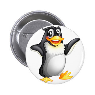 A smiling fat penguin 2 inch round button