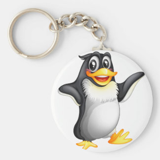 A smiling fat penguin basic round button keychain