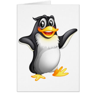A smiling fat penguin greeting card