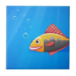 A smiling fish in the ocean ceramic tile