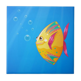 A smiling fish swimming tile