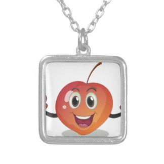A smiling fruit square pendant necklace