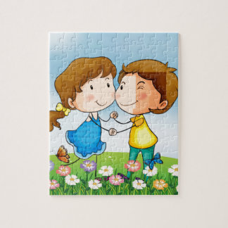 A smiling girl and a boy jigsaw puzzle