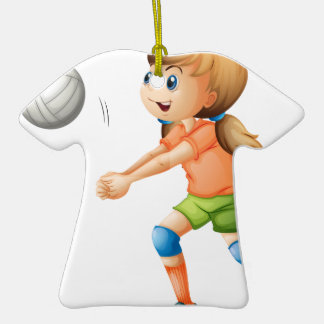 A smiling girl playing volleyball Double-Sided T-Shirt ceramic christmas ornament