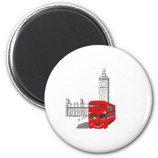 A smiling London Bus Magnet
