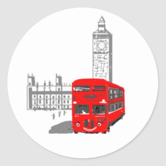A smiling London Bus Round Stickers