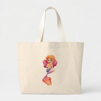 A smiling mermaid jumbo tote bag