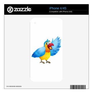 A smiling parrot decal for the iPhone 4