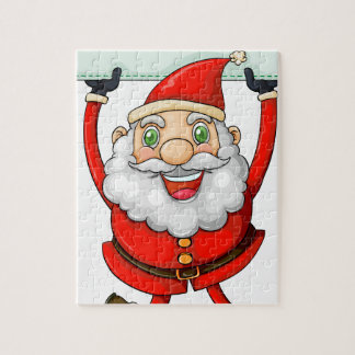 A smiling Santa Claus holding an empty signage Jigsaw Puzzle