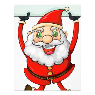A smiling Santa Claus holding an empty signage Letterhead