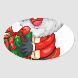A smiling Santa holding a present for Christmas Oval Sticker