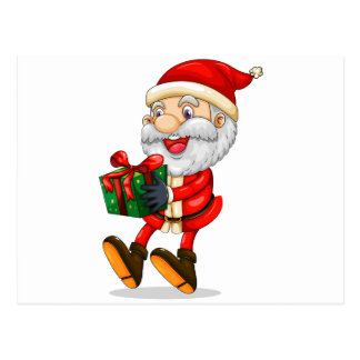 A smiling Santa holding a present for Christmas Postcard
