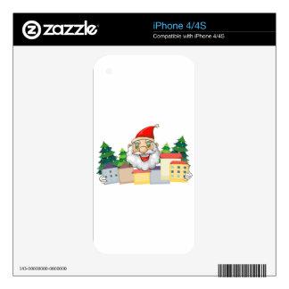 A smiling Santa hugging the village iPhone 4S Skins