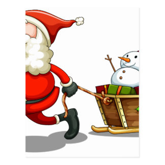 A smiling Santa pulling a sleigh Postcard