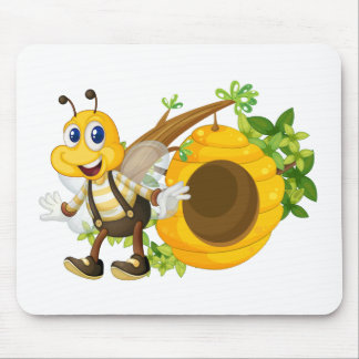 A smiling yellow bee near the beehive mouse pad