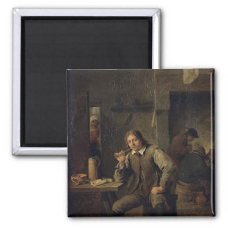 A Smoker Leaning on a Table, 1643 2 Inch Square Magnet