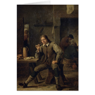 A Smoker Leaning on a Table, 1643 Card
