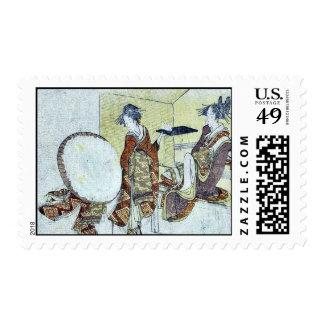 A snow bunny on a tray by Katsushika,Hokusai Stamps
