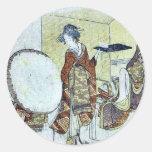 A snow bunny on a tray by Katsushika,Hokusai Round Stickers