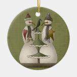 A Snow Couple Ceramic Christmas Ornament
