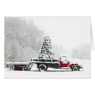 A Snow Covered Truck Sits In A Field Greeting Card