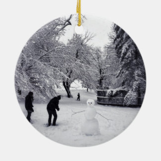 A Snowball Fight In Central Park Ceramic Ornament
