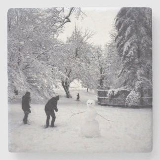 A Snowball Fight In Central Park Stone Coaster