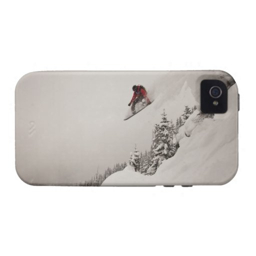 A snowboarder jumps off a cliff into powder in Case-Mate iPhone 4 case