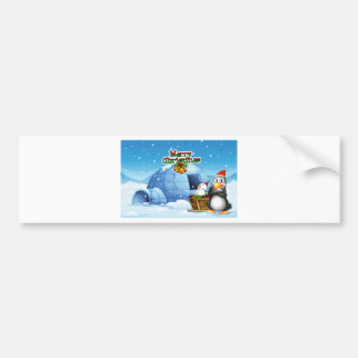 A snowman and a penguin in front of the igloo bumper sticker