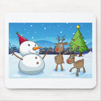 A snowman and the reindeers near the christmas tre mouse pad