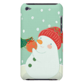 A snowman hanging an ornament on a tree barely there iPod case