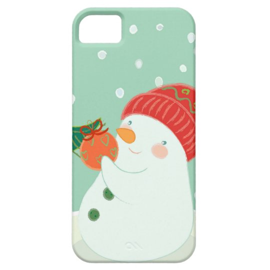 A snowman hanging an ornament on a tree iPhone SE/5/5s case