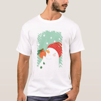 A snowman hanging an ornament on a tree T-Shirt