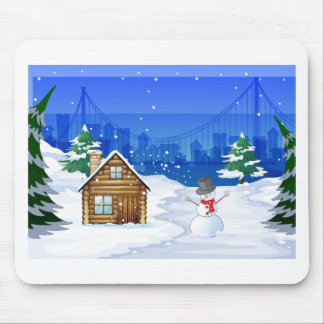 A snowman near the bamboo house mouse pad