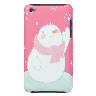 A snowman reaching for a falling snowflake Case-Mate iPod touch case