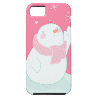 A snowman reaching for a falling snowflake iPhone SE/5/5s case