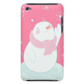 A snowman reaching for a falling snowflake iPod touch case
