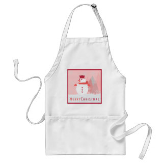 A Snowman Resting Upon the Snow as Snowflakes Fall Adult Apron