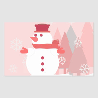 A Snowman Resting Upon the Snow as Snowflakes Fall Rectangular Sticker